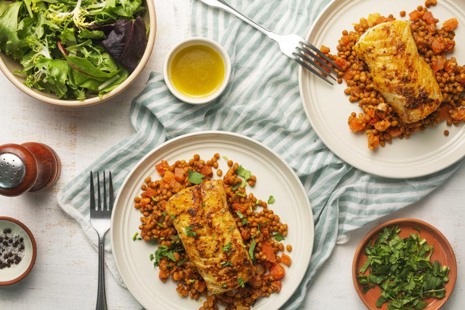 Masala Cod over Tomato-Studded Lentils
