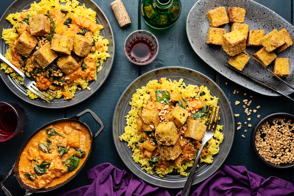 Crispy Tofu with Butternut Squash Coconut Curry