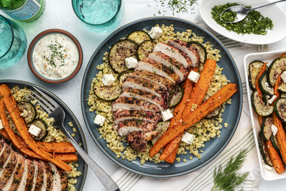 Seared Chicken Breasts with Roasted Pepper Yogurt