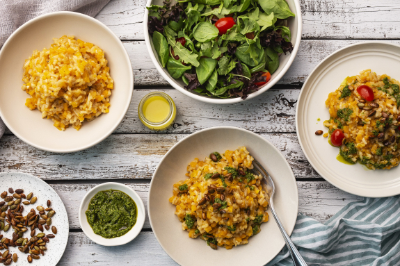Butternut Squash Risotto with Basil Pesto & Toasted Pepitas