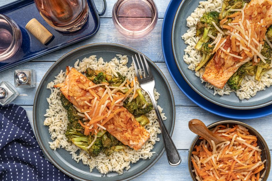Kimchi-Rubbed Salmon with Saucy Sautéed Broccoli