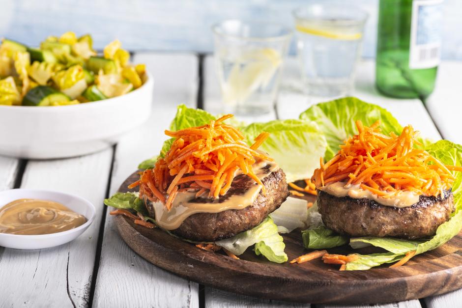 Lemongrass-Hoisin Pork Lettuce Burgers