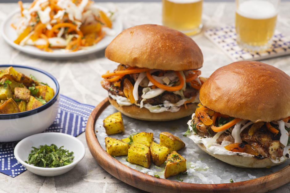 Indian Chicken Burgers with Grilled Apricot Slaw