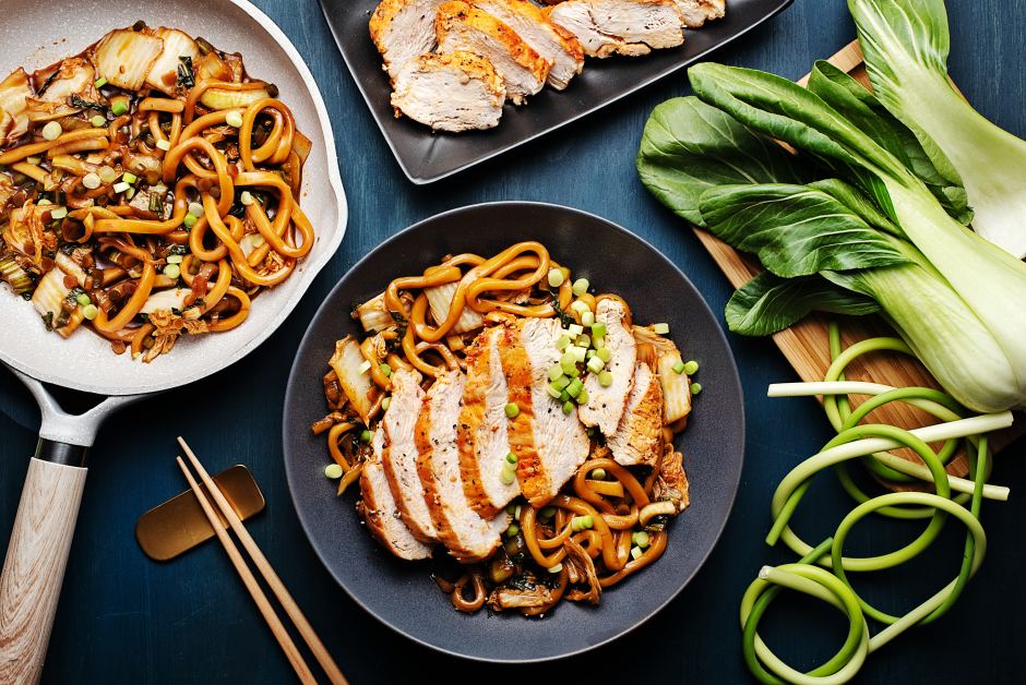 Sweet Soy Fresh Udon Noodles with Grilled Chicken