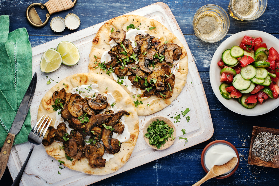 Indian-Spiced Mushroom Flatbreads