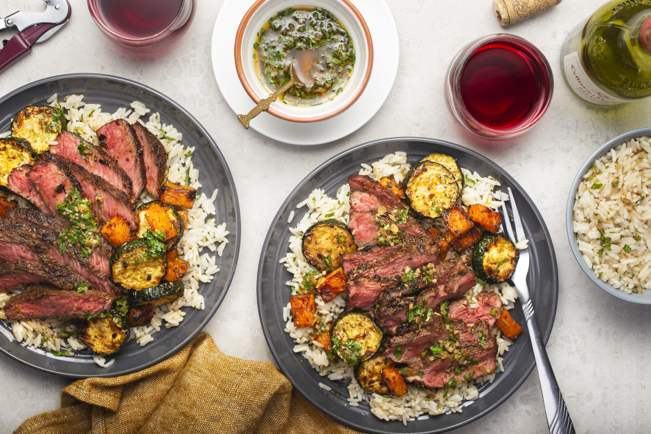 Argentinian-Style Steaks & Charred Scallion Chimichurri