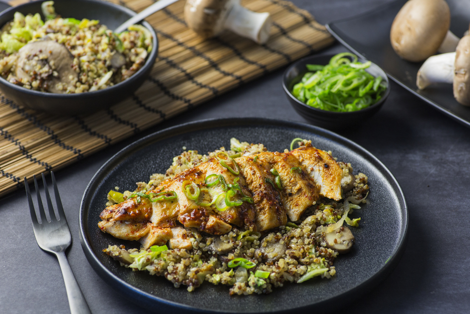 Korean-Spiced Chicken over Ginger Fried Quinoa