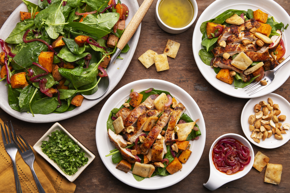 Warm Chicken Salad with Curried Sweet Potatoes