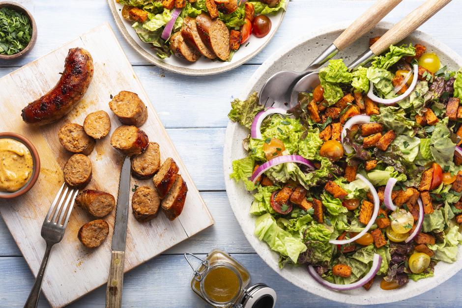 Seared Pork Sausage with Roasted Sweet Potato Salad