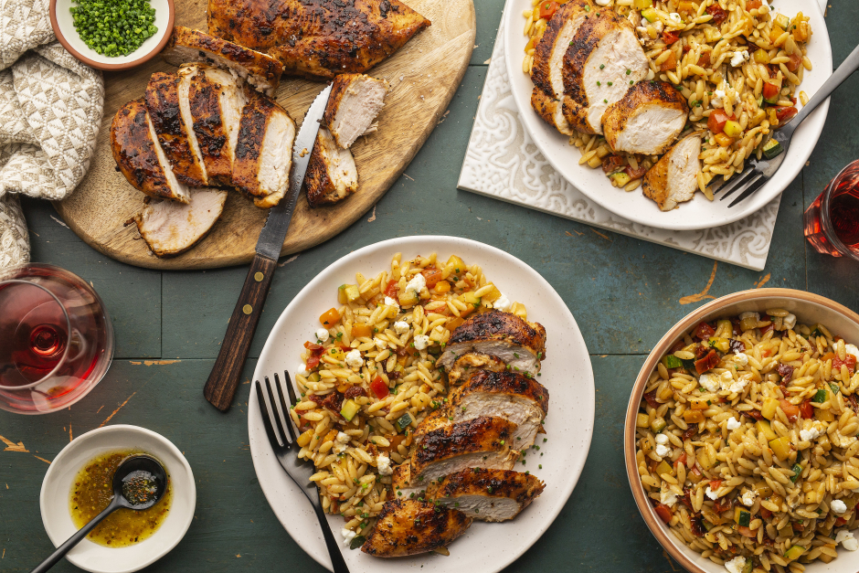 Spiced Chicken Breasts over Mediterranean Orzo