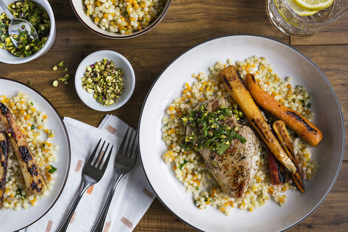 Grilled Pork Chops with Pistachio-Parsley Gremolata