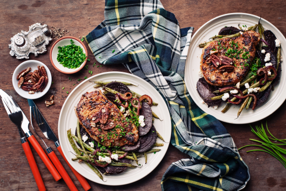 Seared Pork Chops with Blistered Green Beans