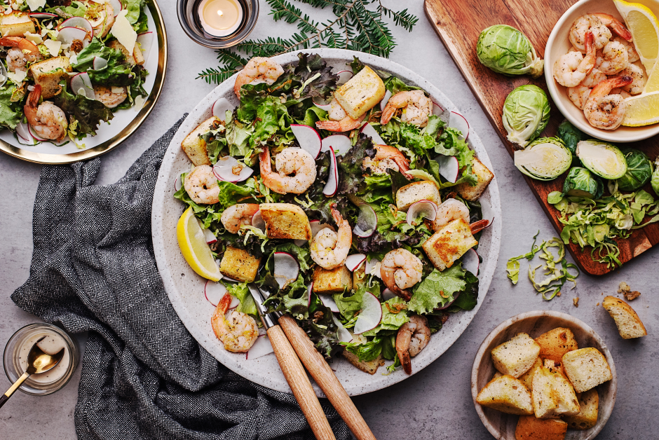 Winter Caesar Salad with Shrimp