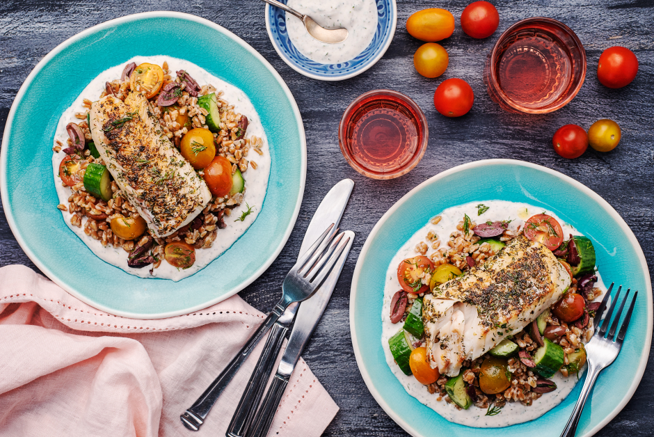 Greek Seared Haddock with Dakos Salad