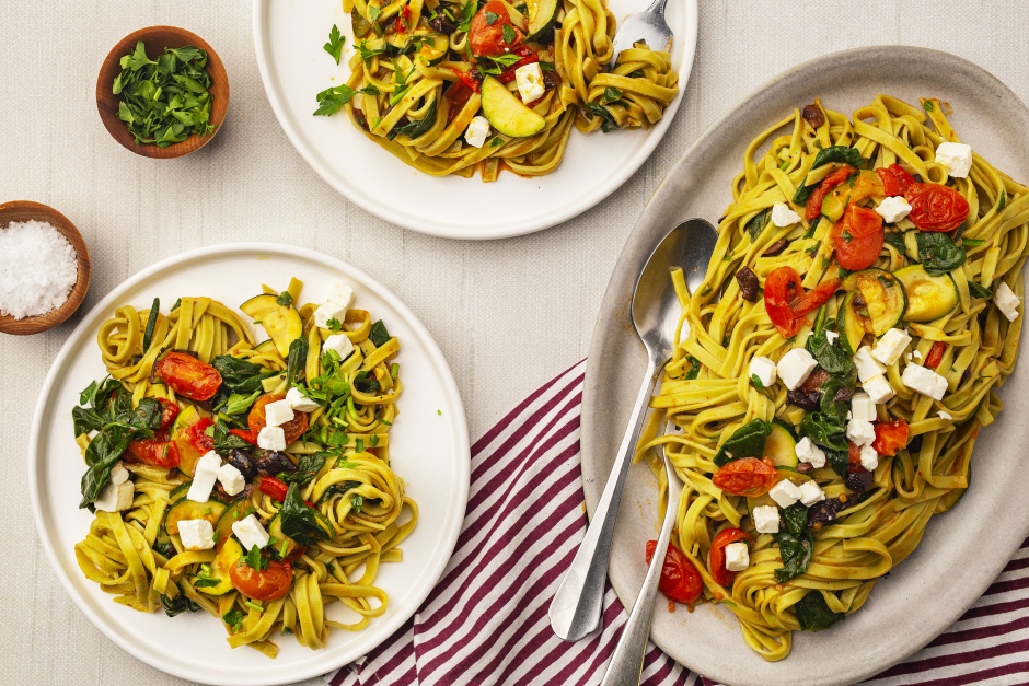 Fresh Spinach Linguine with Roasted Red Pepper-Ajvar Sauce