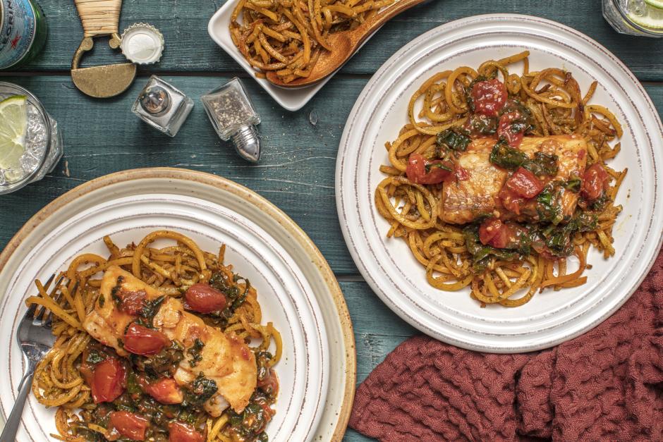 Italian-Style Cod with Kale Marinara Sauce