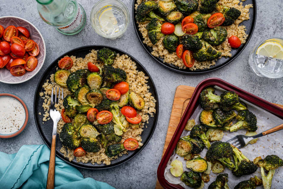 Oven-Fried Vegetables over Spiced White Quinoa