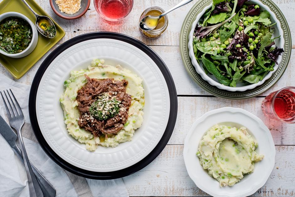 Braised Beef over Potato-Pea Mash