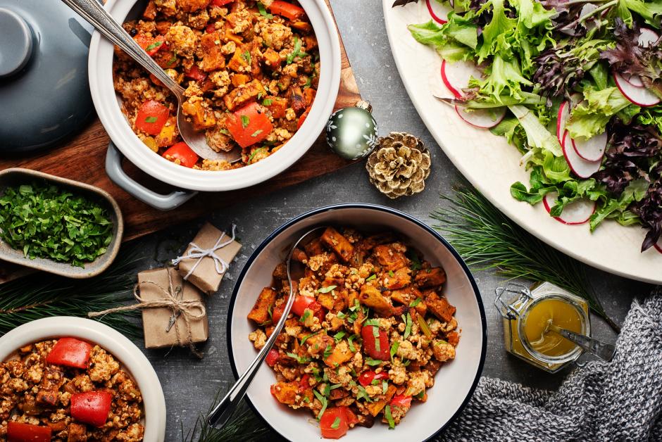 Smoky Ground Turkey Chili with Roasted Sweet Potatoes
