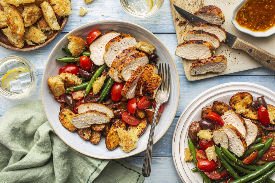Pan-Seared Chicken over Warm Niçoise-Style Salad