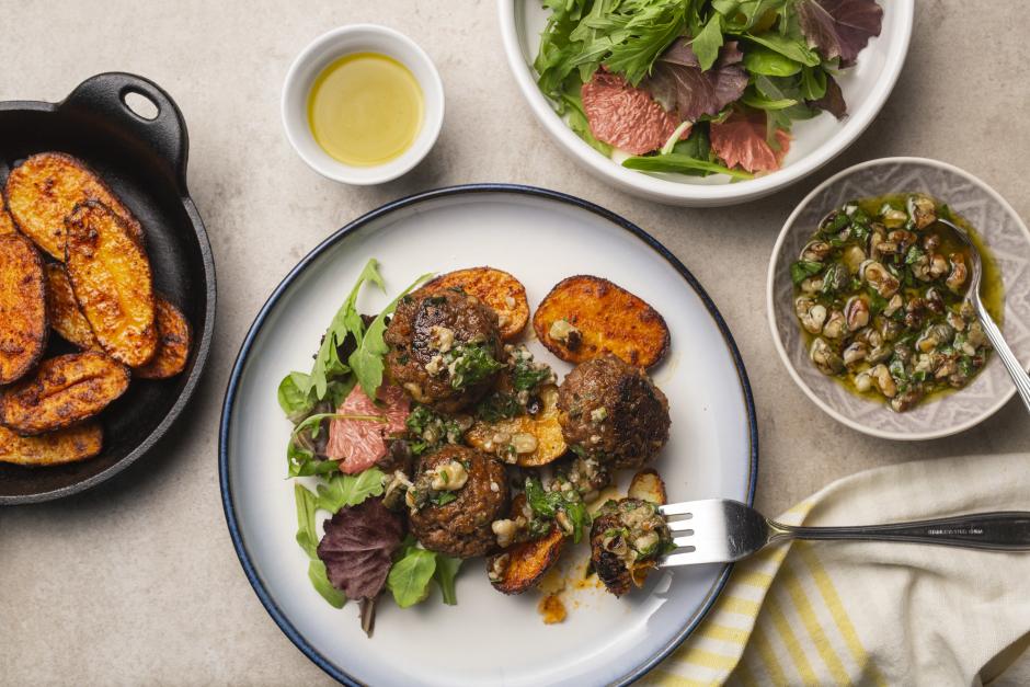 Ground Beef & Walnut Meatballs with Fingerling Potatoes