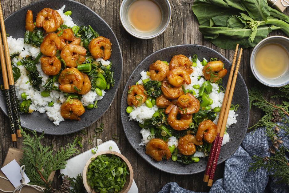 Teriyaki Shrimp with Asian Greens