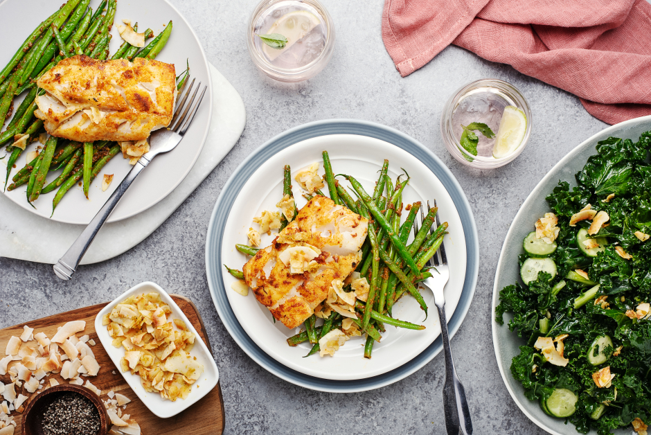Curry Cod with Coconut Crisp over Blistered String Beans