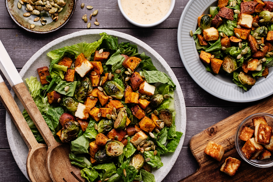 Hearty Caesar Salad with Halloumi Croutons