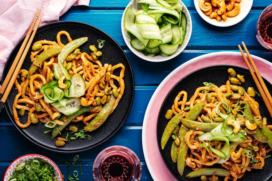 Sautéed Sesame Noodles with Roasted Cashews