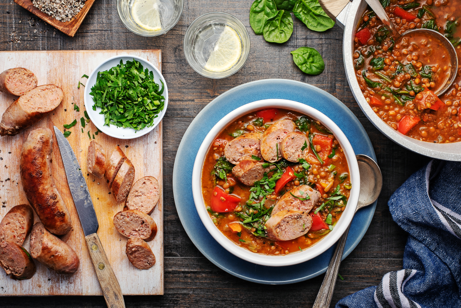 One-Pot Sausage & Lentil Soup