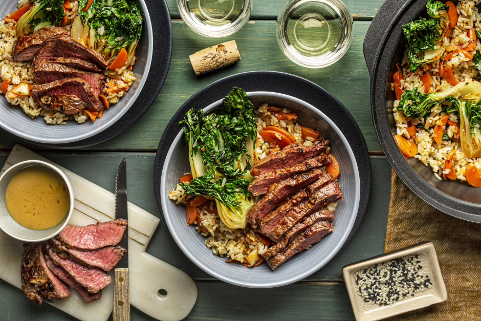 Kimchi-Rubbed Steaks over Fried Rice