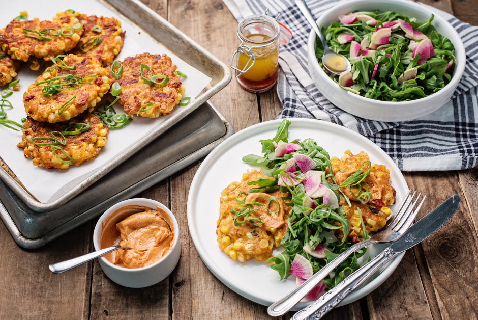 Cheesy Corn & Roasted Pepper Fritters