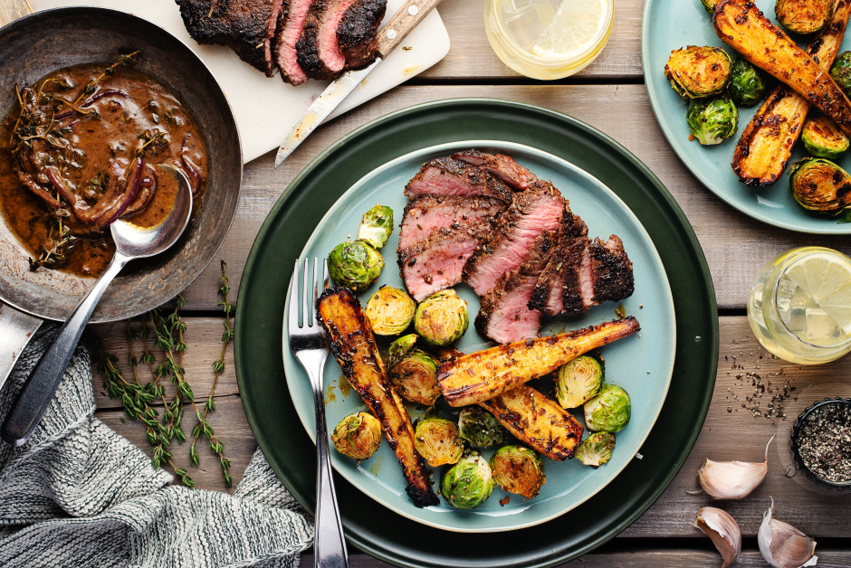 Seared Steaks with Thyme & Roasted Garlic Pan Sauce