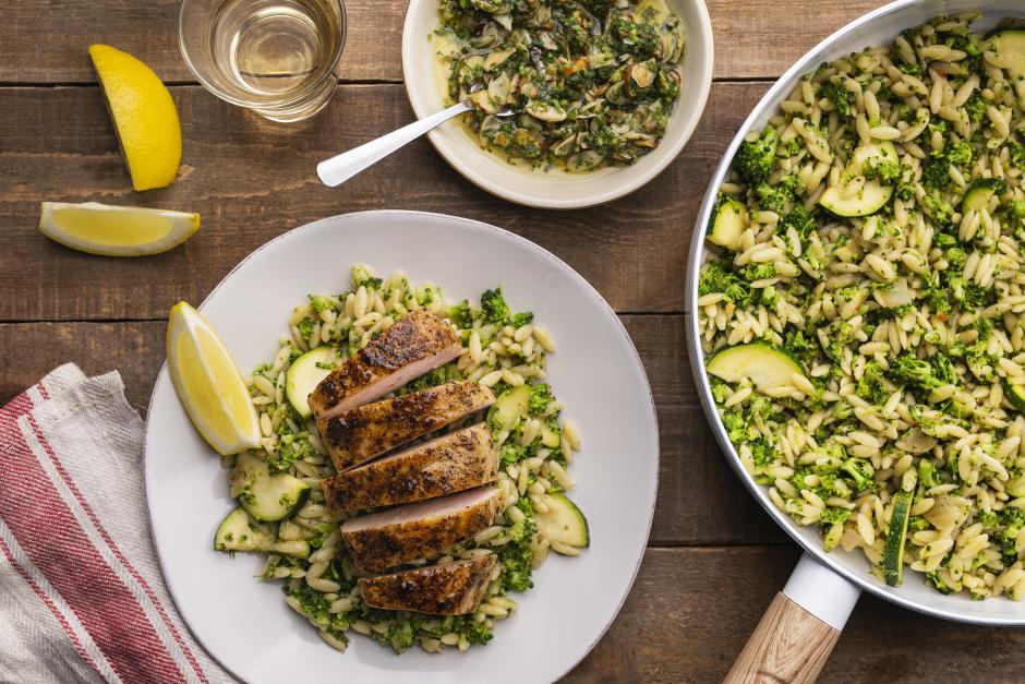 Seared Chicken over Broccoli Orzotto