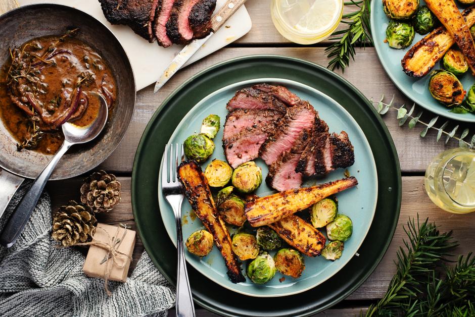Roasted Garlic-Thyme Butter Steaks