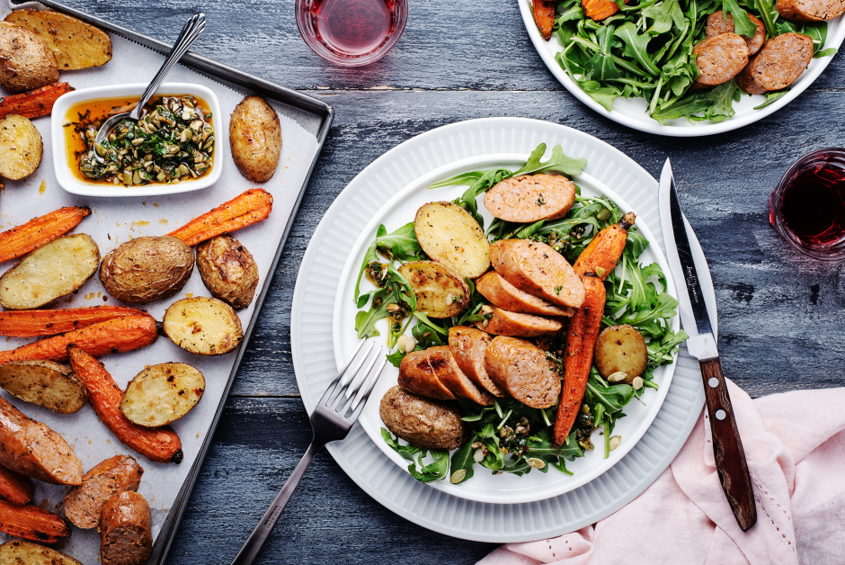 Roasted Sausages, Potatoes & Carrots
