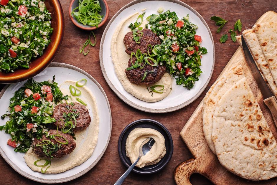 Lebanese-Style Beef Kefta with Hummus