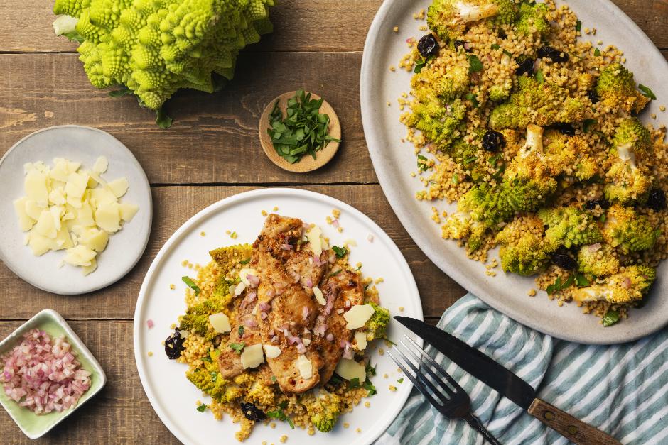 Pork Scallopini & Roasted Romanesco-Millet Salad