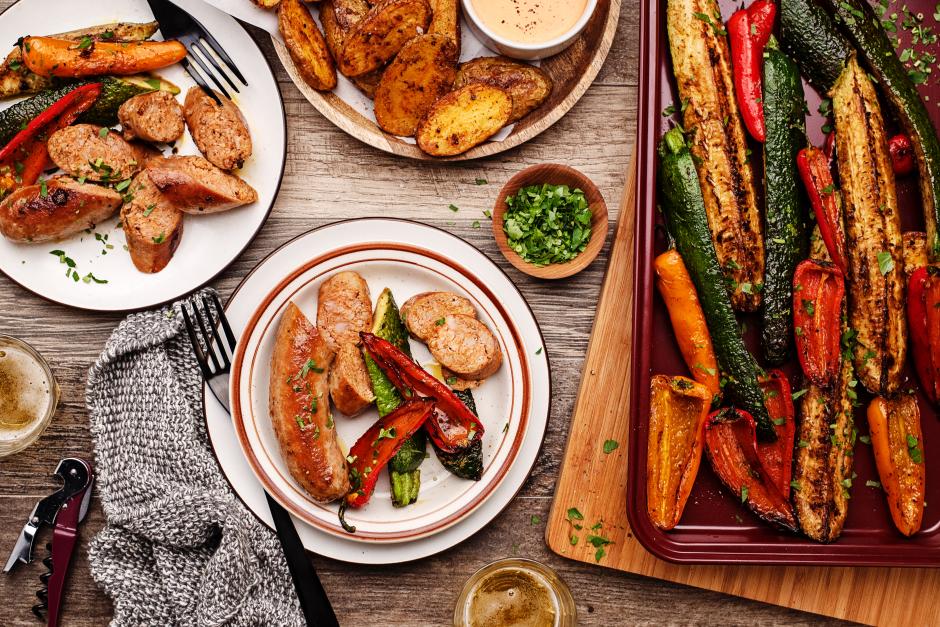 Saucisses espagnoles et poêlée de légumes au xérès