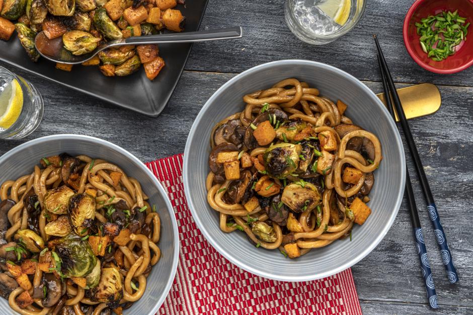 Fresh Shanghai Noodles with Teriyaki Mushrooms