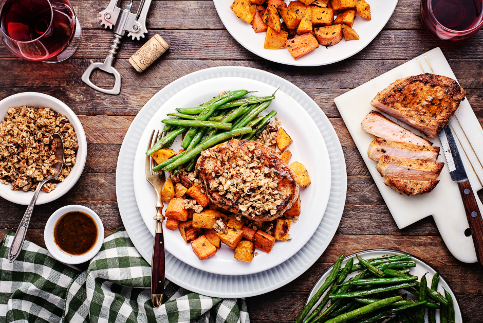 Seared Pork Chops with Savoury Maple-Oat Crumble
