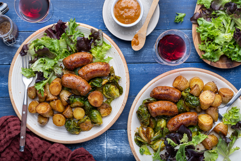 Roasted Pork Sausages & Sarladaise-Style Baby Potatoes