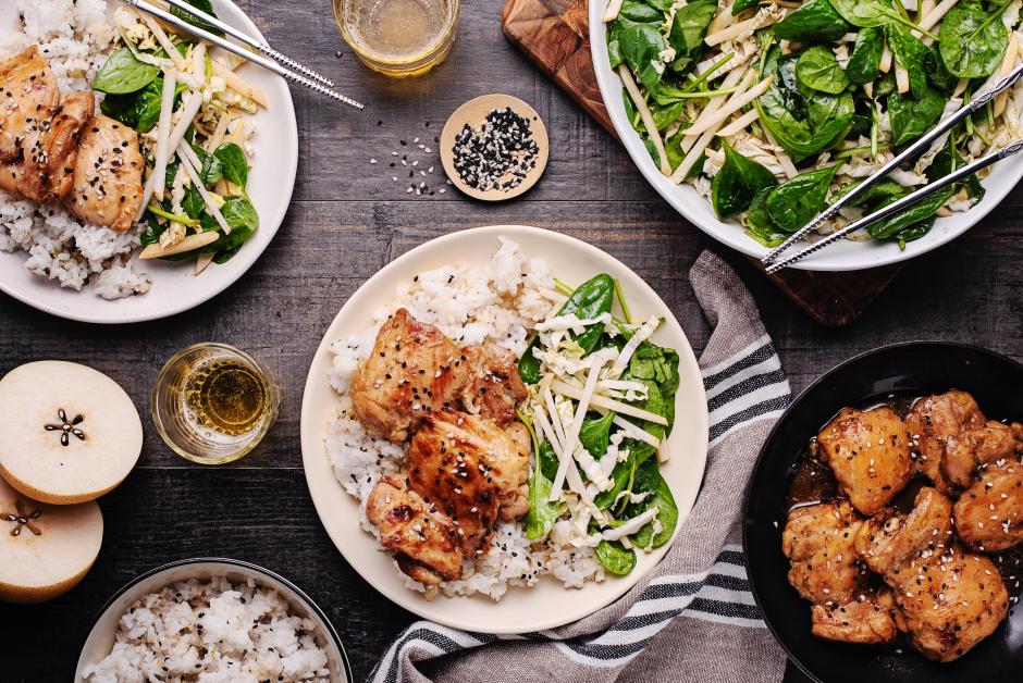 Ponzu-Ginger Chicken over Sesame Rice