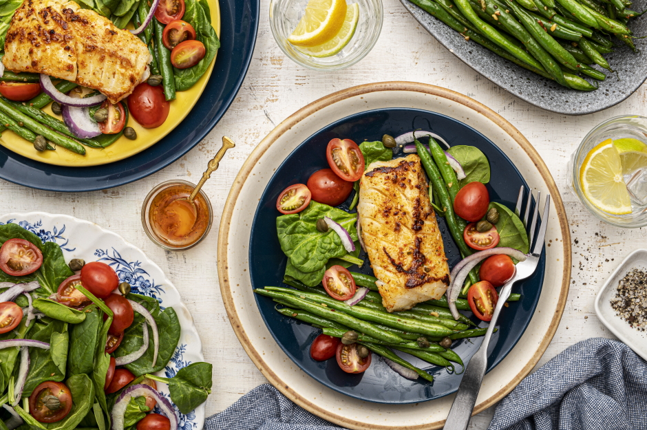 Pan-Seared Cod & Cherry Tomato-Caper Salad