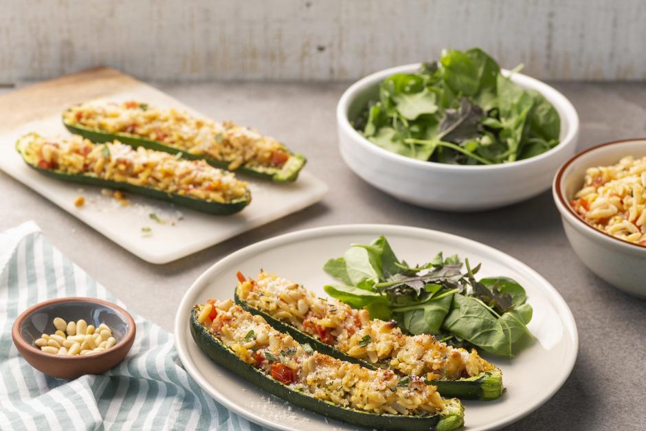 Parmesan & Orzo Stuffed Zucchini