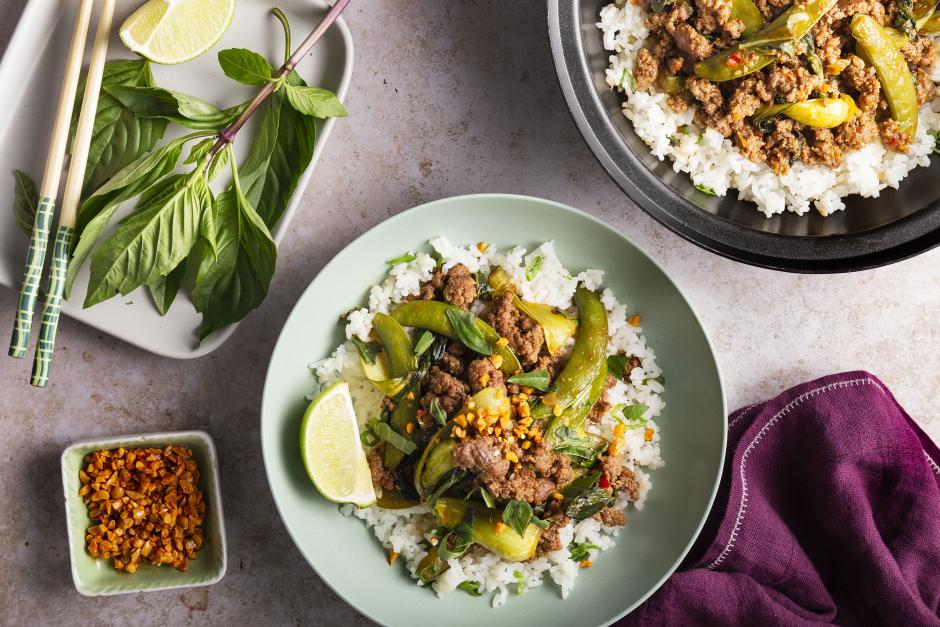 Thai Basil Beef over Scallion Rice