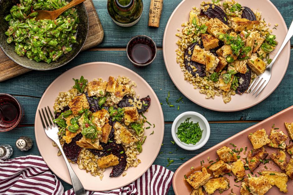 Crispy Glazed Tofu, Freekeh & Roasted Beet Salad