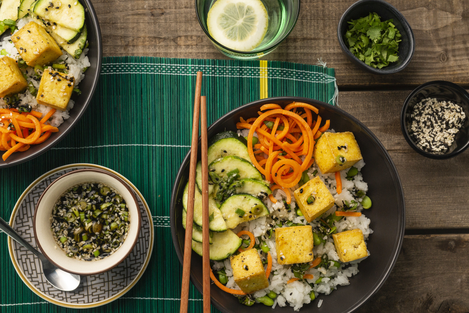Tofu Poke Bowls with Spiralized Carrots