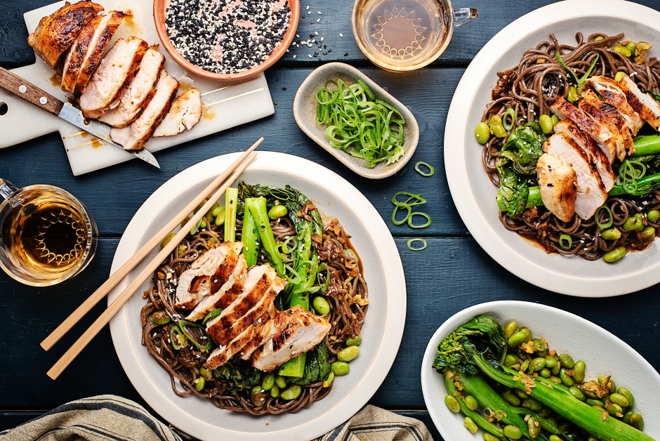 Miso-Soy Chicken over Saucy Soba Noodles