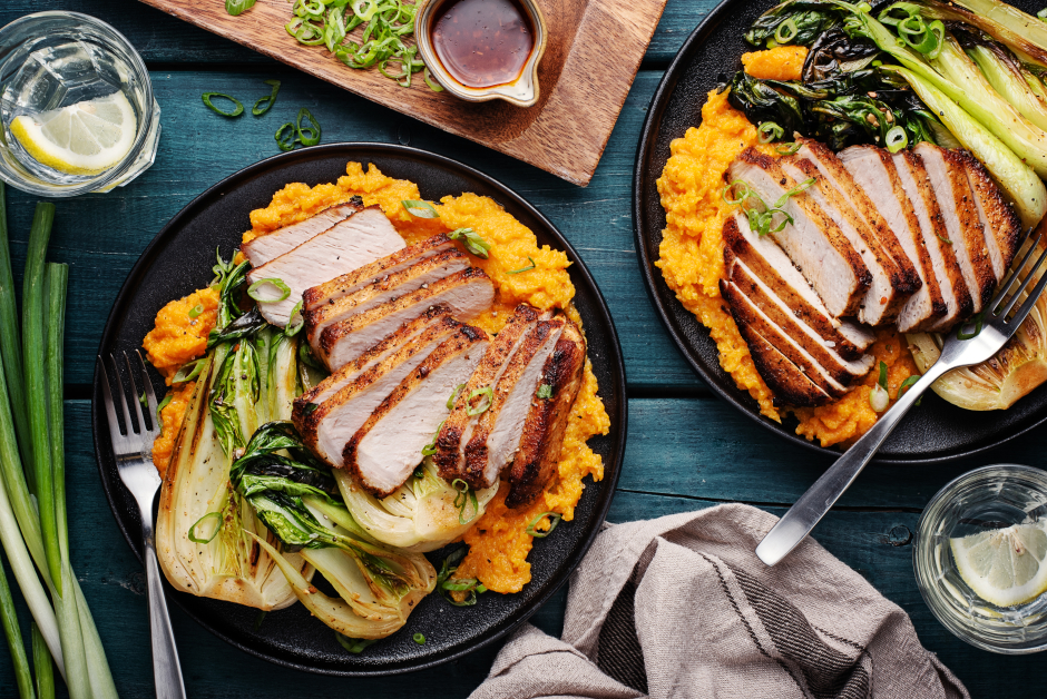 Thick-Cut Pork Chops with Ginger-Carrot Rustic Mash